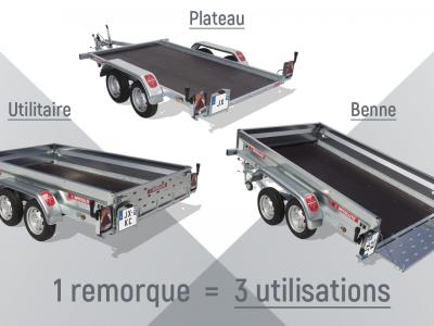 Remorque multi-usages basculant  avec ridelles et hayon de chargement JX 070/VG