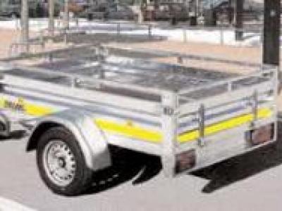 Remorque professionnel RE2131 mains-courante basculante essieu freiné