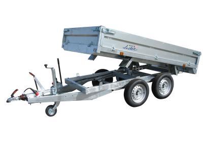 remorque benne hydraulique 2500 kg LIDER 39600PE pompe hydrau-électrique roues dessous