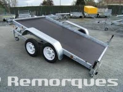Remorque freinée plateau basculant double essieux JX152A Satellite