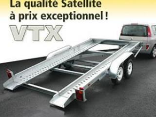 Remorque porte voiture vtx223al/vg double essieux pro satellite option basculement hydraulique