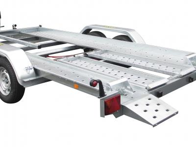 porte voiture PV 25B / pv400f250 basculement par vérin gaz + kit rampe de montée + treuil et support + cales de roues