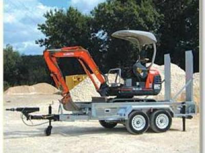 Porte engin double essieux timon articule RSA satellite TLOC35/GT