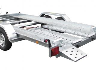 porte voiture PV 25B / pv400f270 basculement par vérin gaz + kit rampe de montée + treuil et support + cales de roues