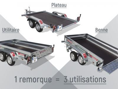 remorque satellite plateau basculement avec ridelles + hayon de chargement  JX091KU/VG