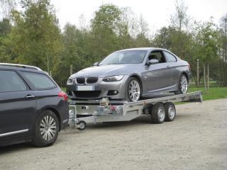 Remorque porte voiture double essieux PVPRO350 franc trigano 3500kg treuil+support ,barre de calage , kit rampe de montée