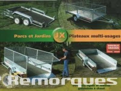 Remorque plateau basculant double essieux JX253A Satellite