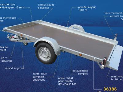 plateau basculant roues extérieures LIDER 40385 freinée 1350 kg LIDER